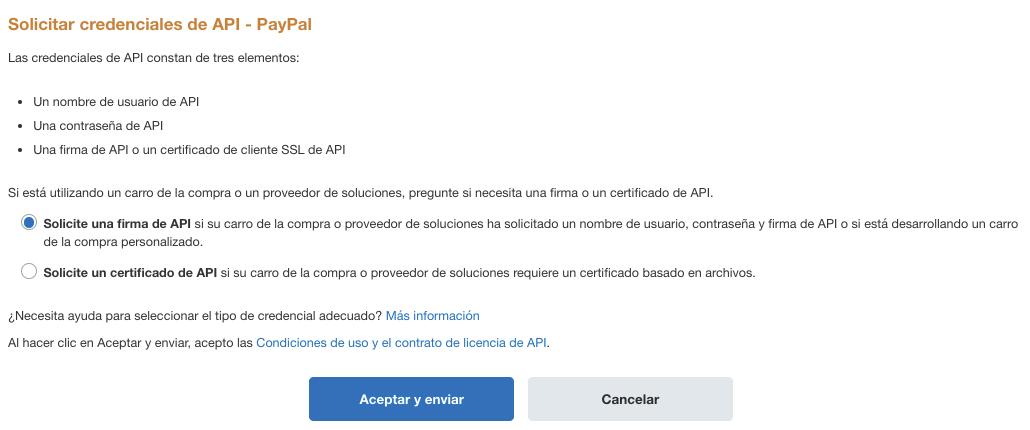 Solicitar credenciales de API.