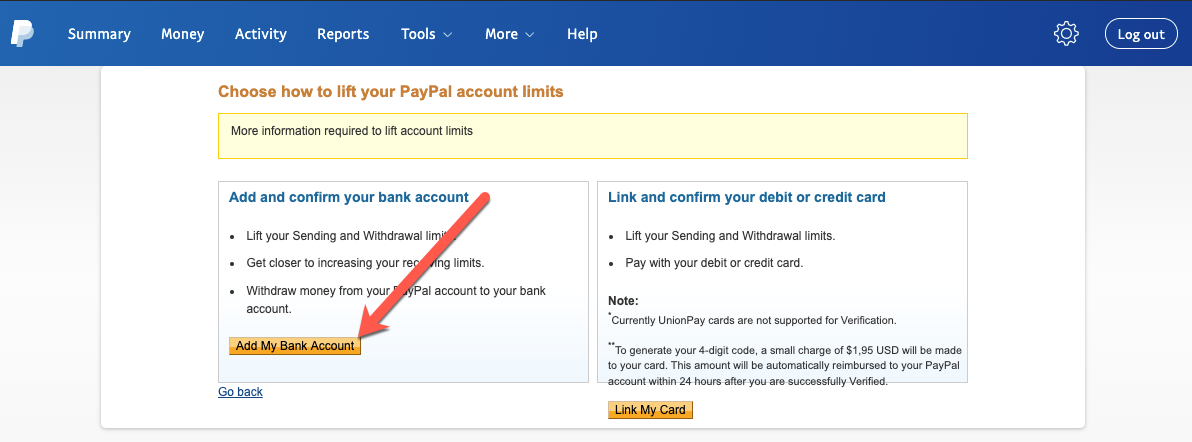 Verifying PayPal via your bank account