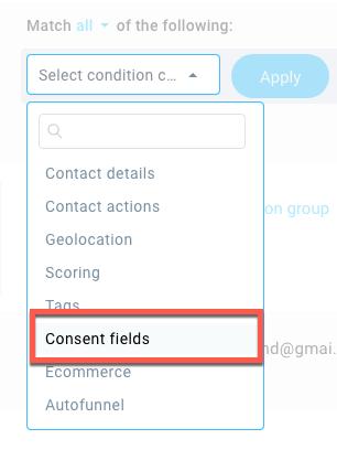 Consent field search criteria.