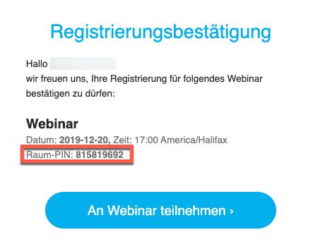 Webinar Bestätigung mit Raum PIN.