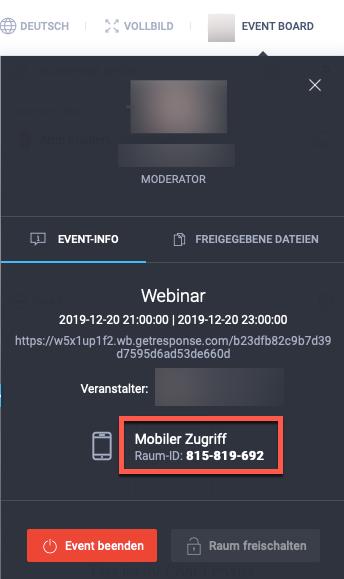 Webinar Event-Board mit Raum-ID für den mobilen Zugriff.