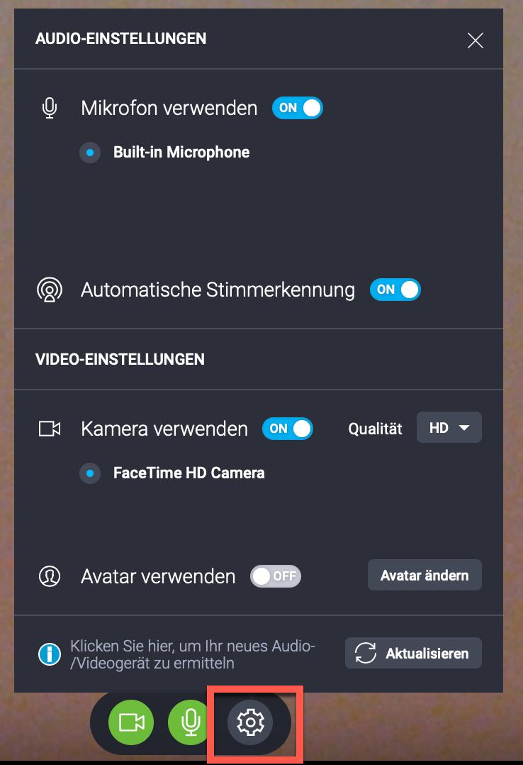 Audtio- und Videoeinstellungen.