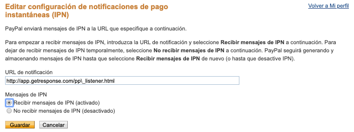 Editar configuración de notificaciones de pago.