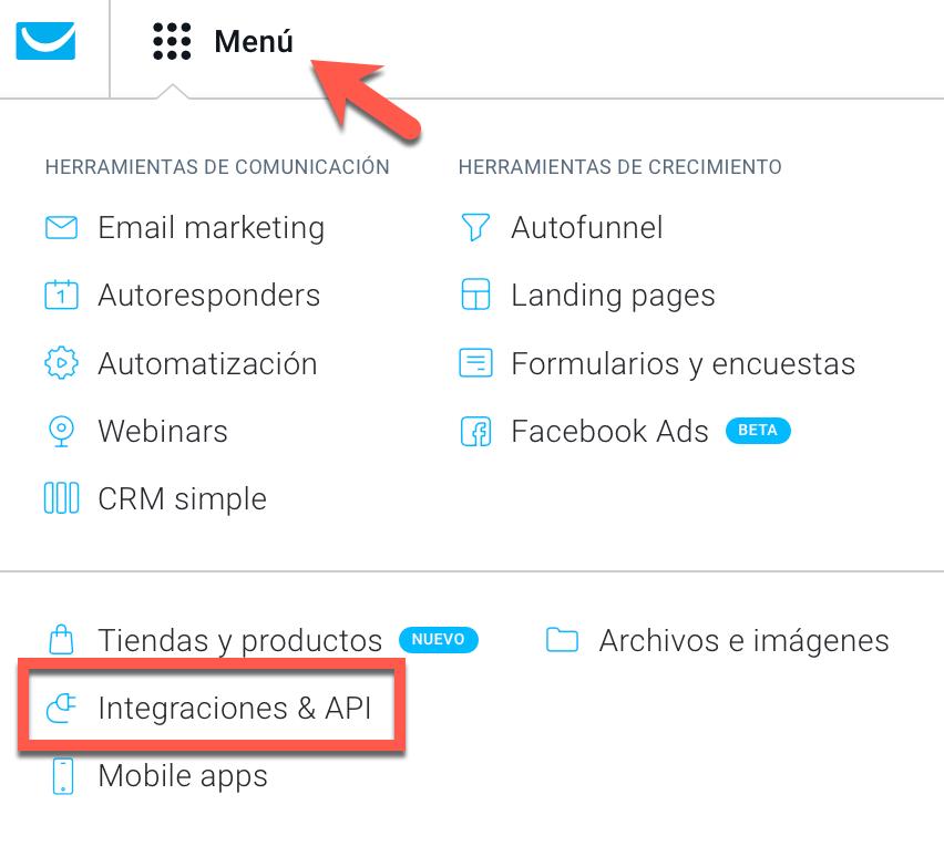 Menú - Integraciones y API.