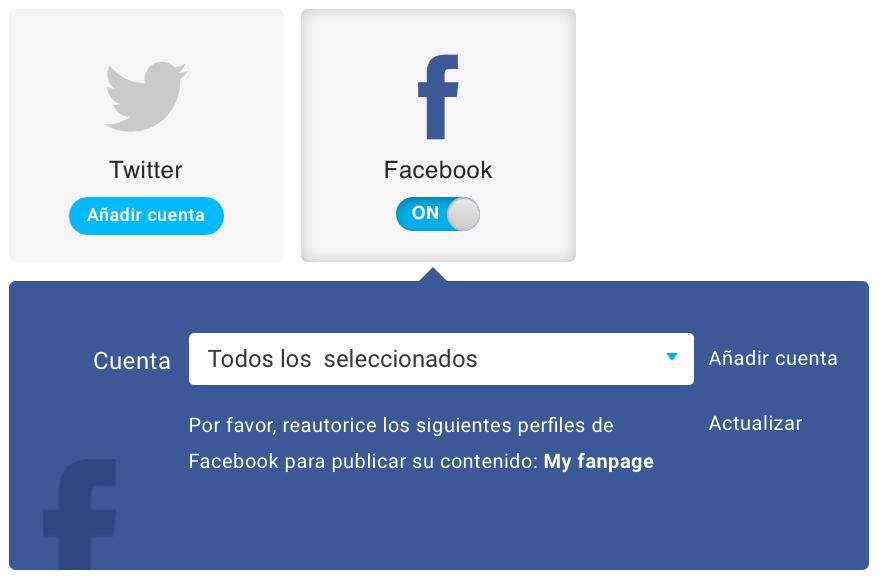 Reautorizar el perfil de Facebook.