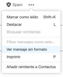 Ver mensaje sin formato en Yahoo.