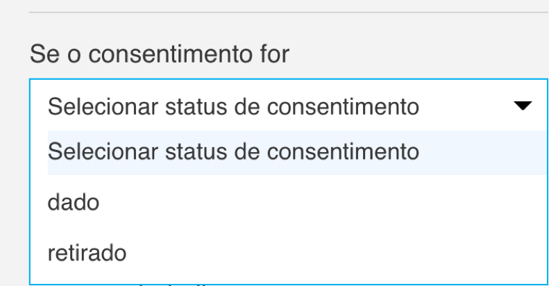 selecionar status de consentimento