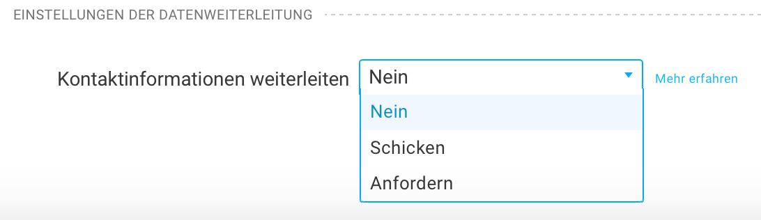 Einstellungen der Datenweiterleitung im Formular.