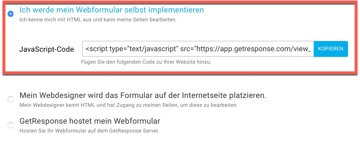 Webformular JavaScript Code kopieren.