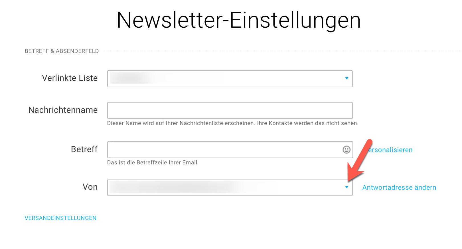 Newsletter-Einstellungen Auswahl Absenderadresse.