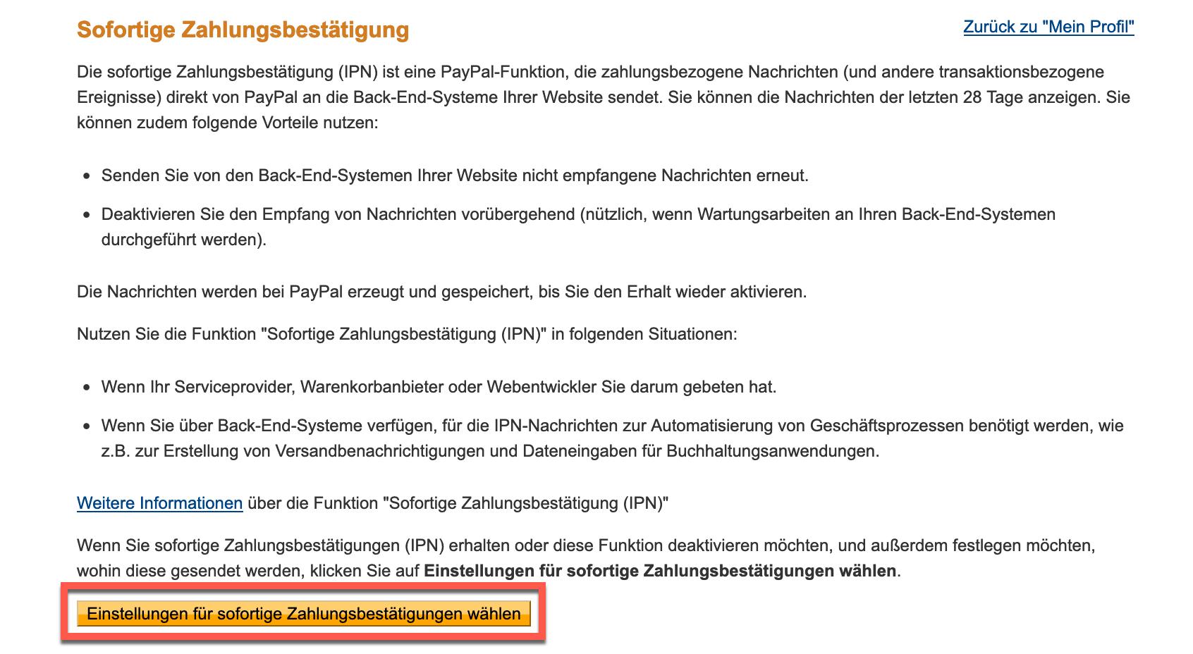 PayPal Auswahl sofortige Zahlungsbestaetigung.