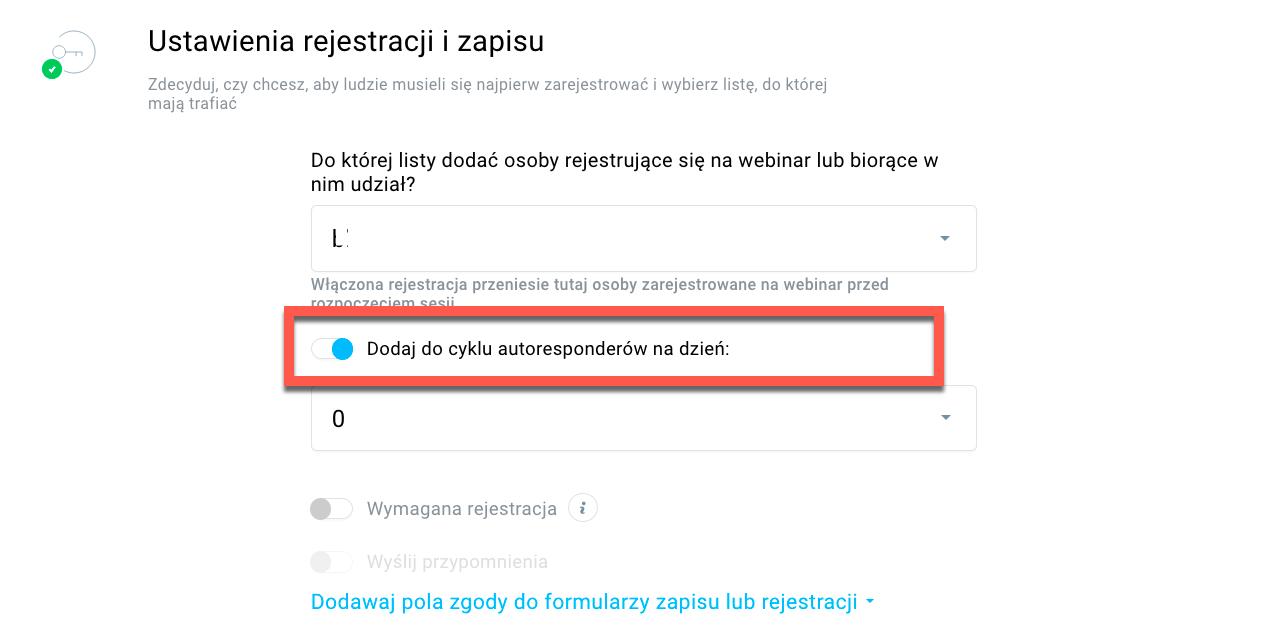 Edycja ustawień autorespondera.