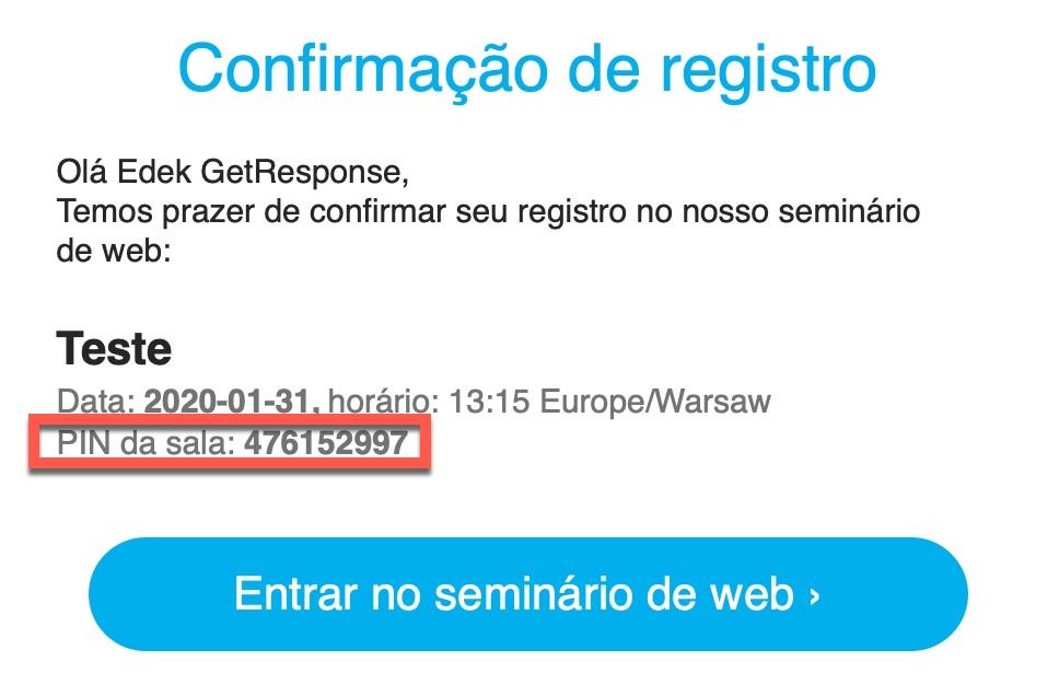confirmação do PIN do email de registro.