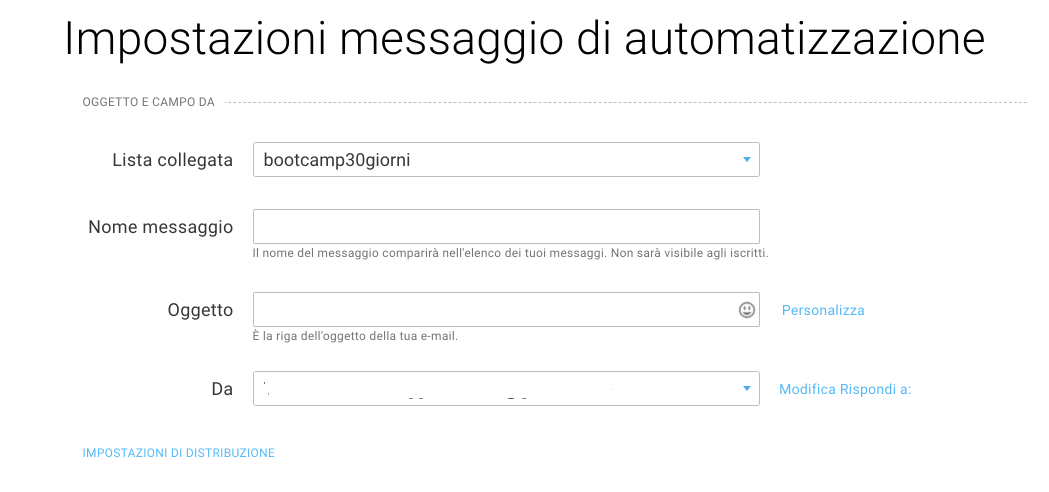 Fields to fill when configuring automation message draft