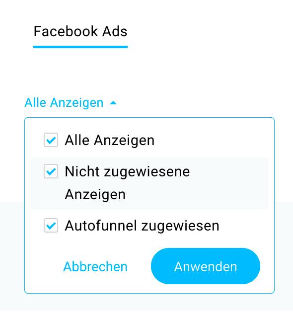 Facebook Ads Anzeigen listen.