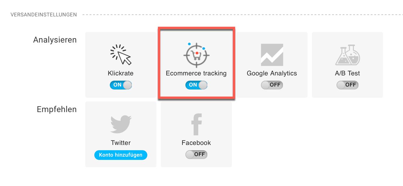 E-Commerce Tracking Einstellung.
