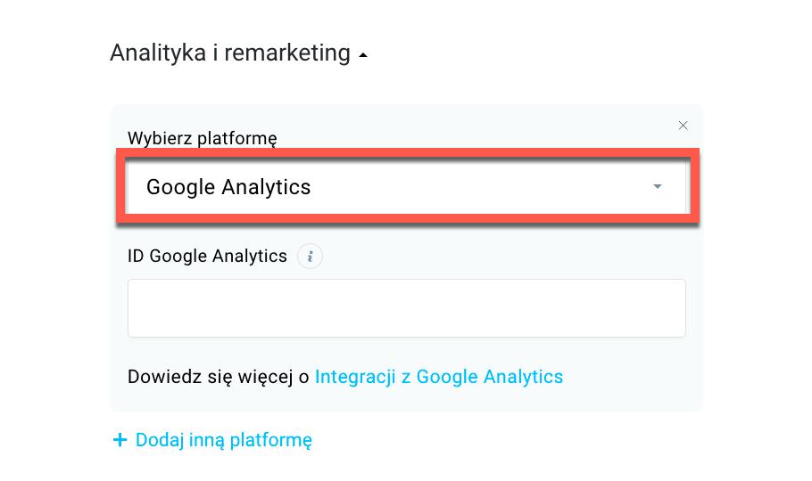 Google Analytics w ustawieniach landing page.