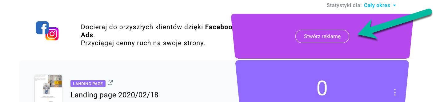 Stwórz reklamę na Facebooka.
