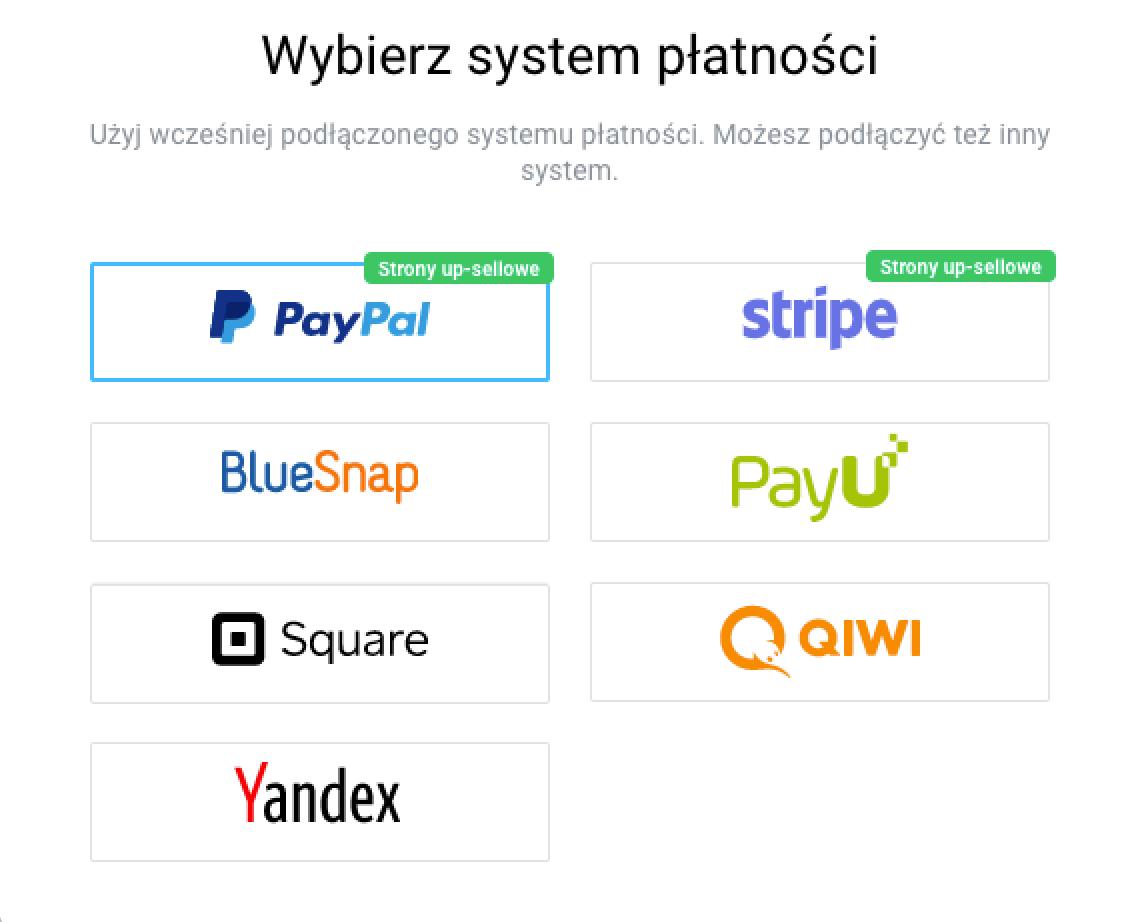 Wybierz system płatności.