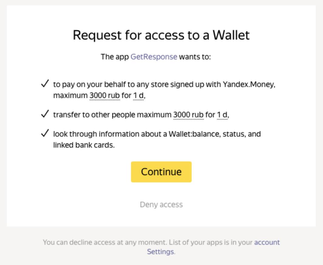 Yandex Verbindung einrichten.