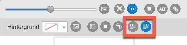 Ausrichtungssymbole im Text- und Bildelement.