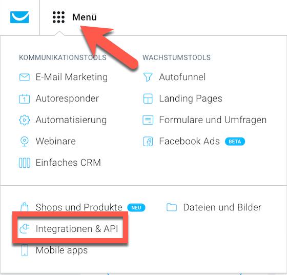 Auswahl Integrationen und API auf der Startseite.