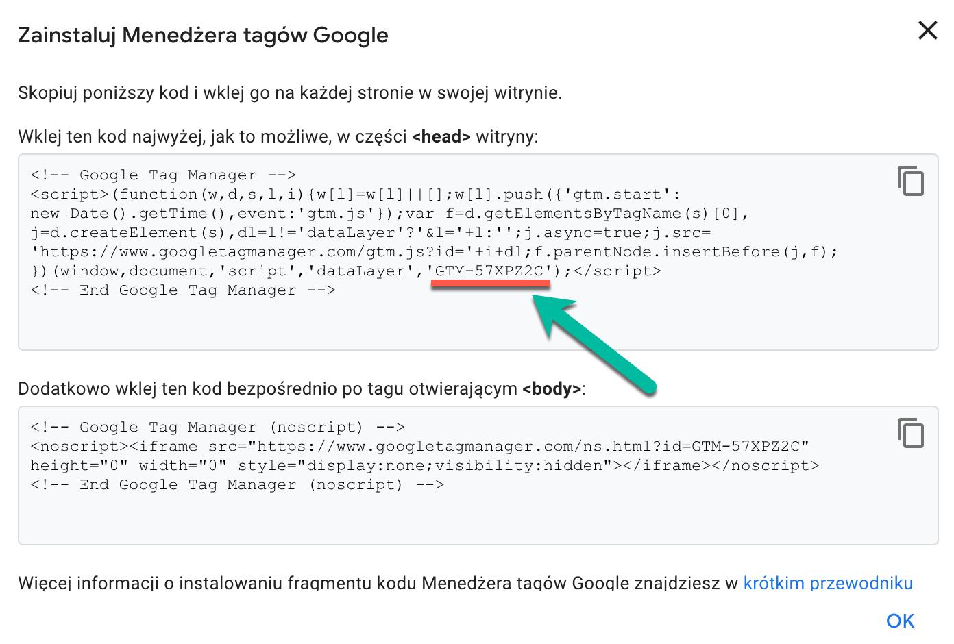 Identyfikator kontenera menedżera tagów google.