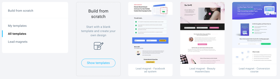 sign up page template selection.