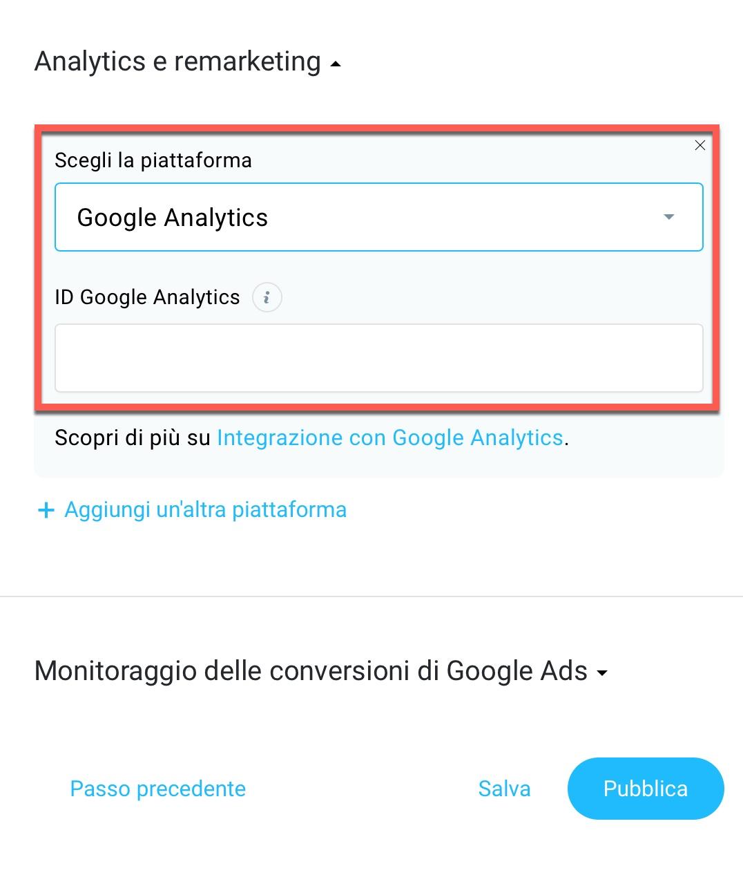 monitoraggio di google analytics