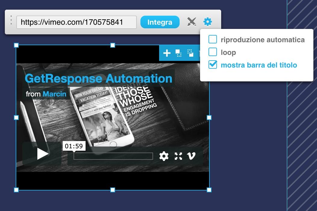 Controlli Vimeo e opzioni di riproduzione.