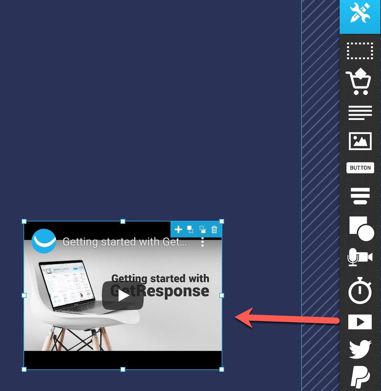 Aggiungi un'icona video sulla landing page.