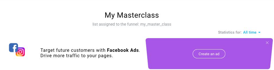 Create ad button in Conversion funnel