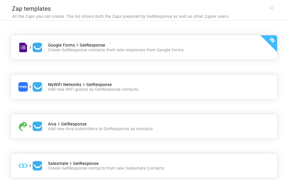Zapier integration templates in GetResponse