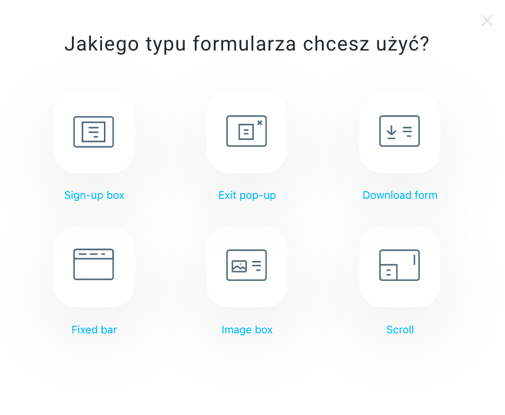Typy formularzy pop-up.