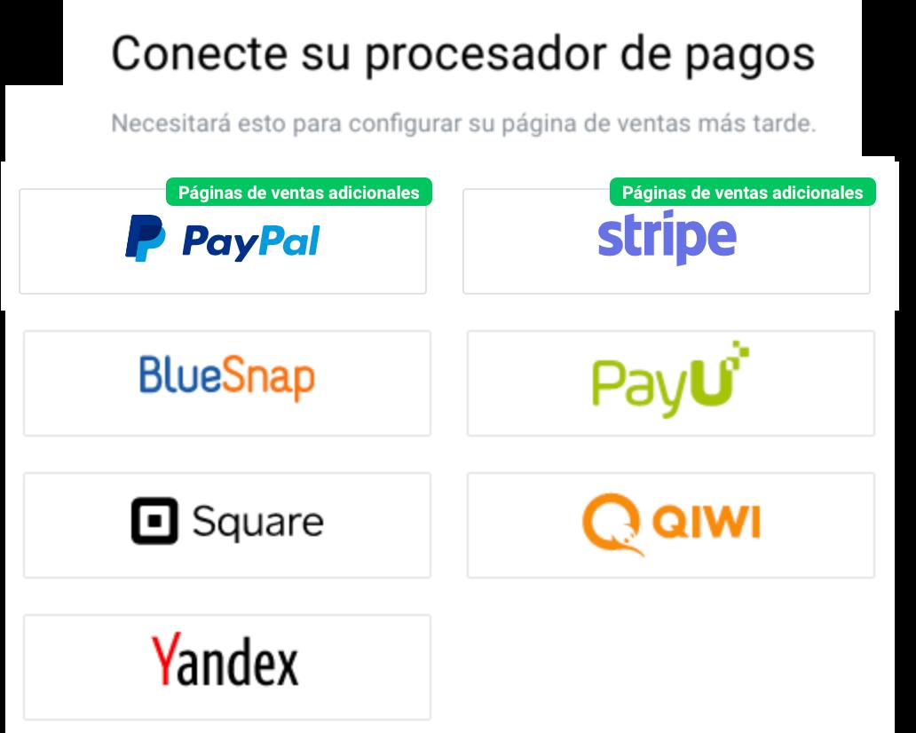 Conectar procesador de pagos.