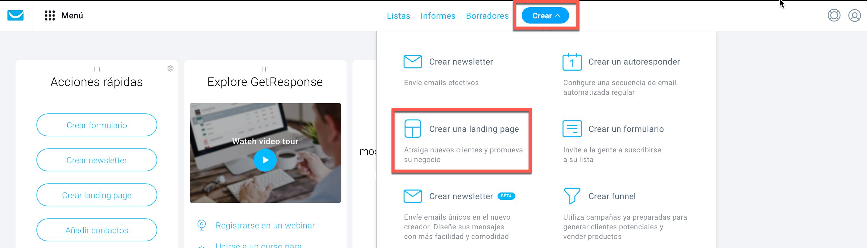 Crear una landing page.