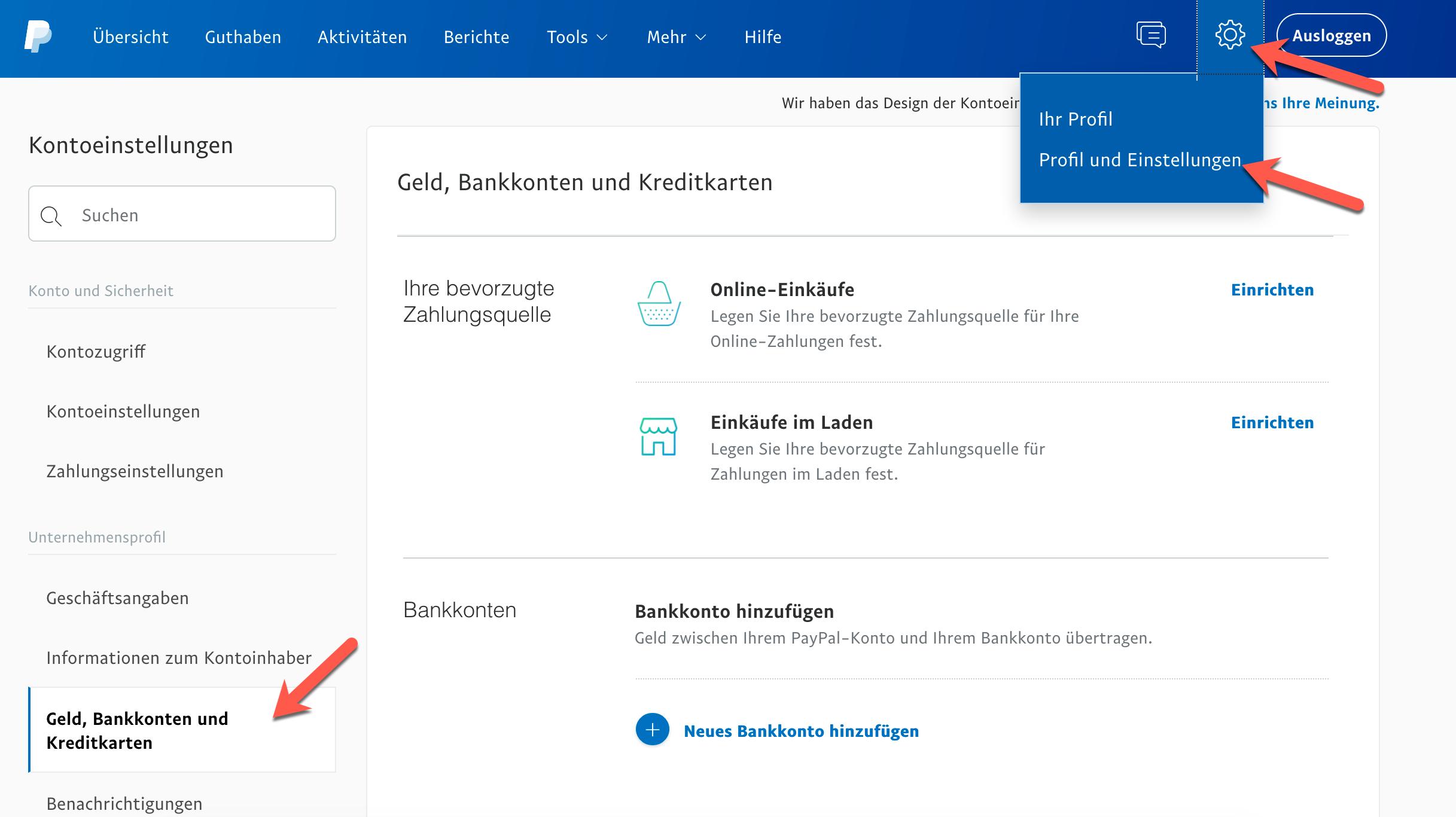 PayPal Kontoverifizierung.