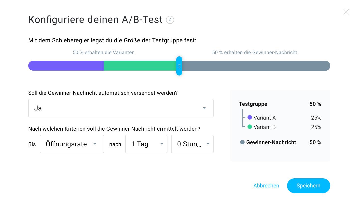 Konfiguriere deinen A/B-Test.