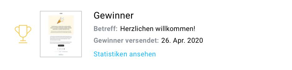 Statistik Gewinner-Nachricht.