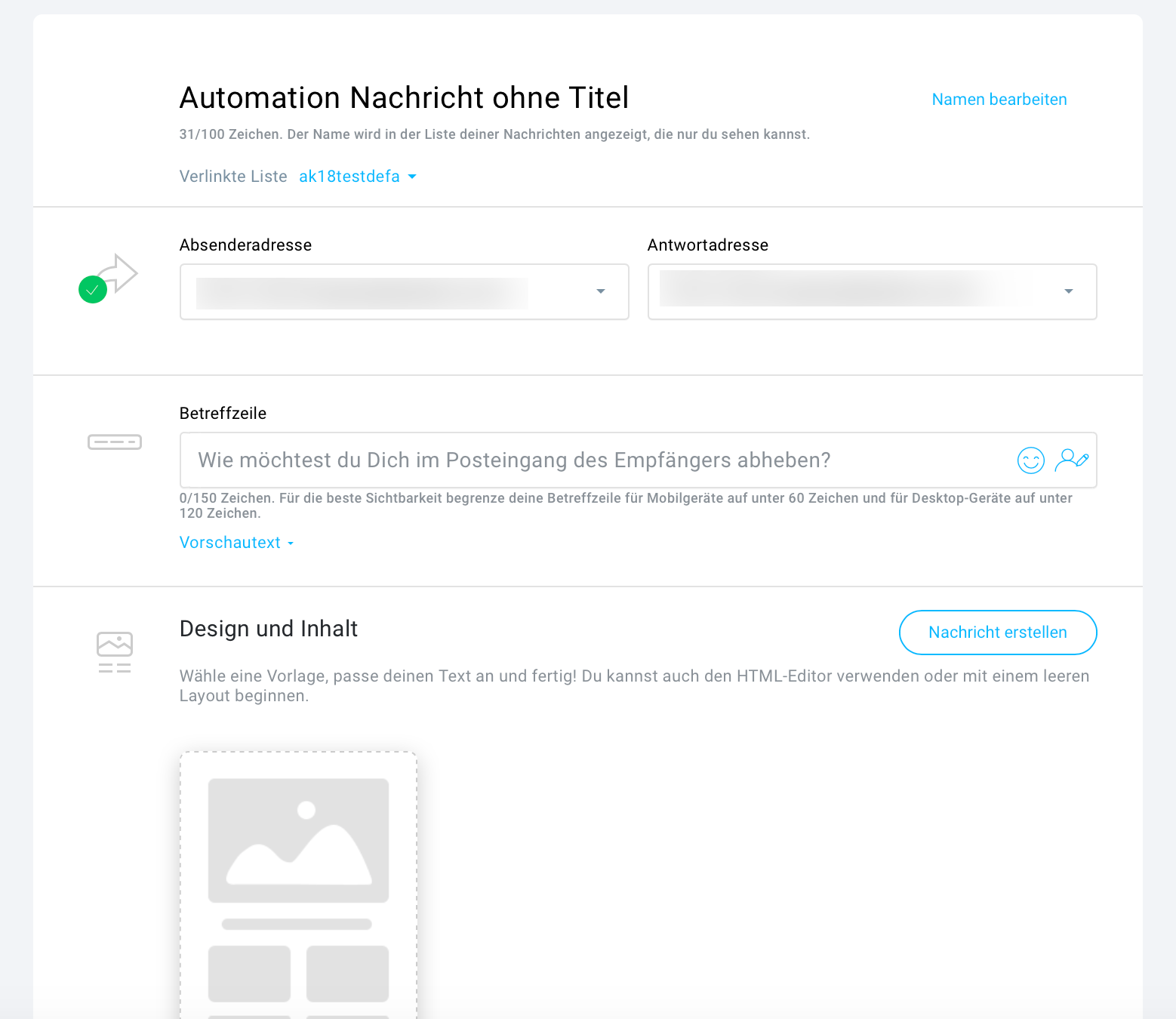 Automatisierungsnachricht erstellen.