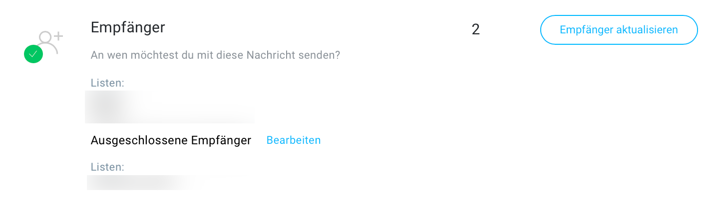Newsletterempfänger und ausgeschlossene Empfänger.