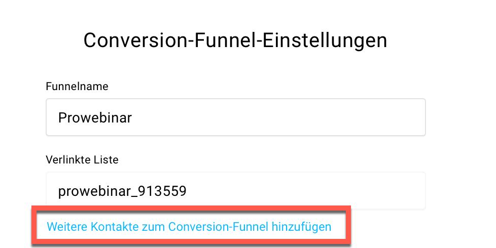 Conversion-Funnel-Einstellungen.