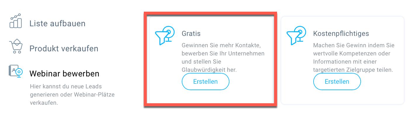 Auswahl Gratis Webinar.