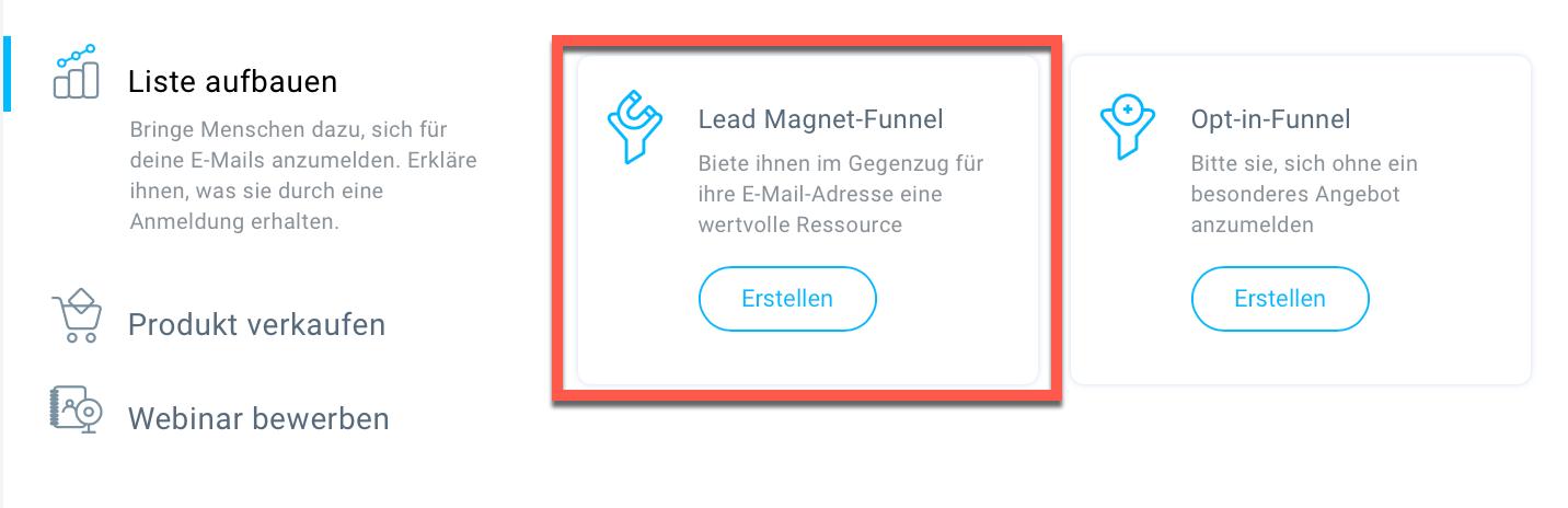 Lead Magnet-Funnel erstellen.