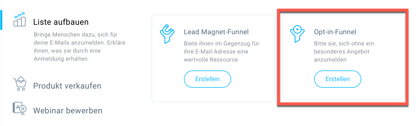 Auswahl Opt-in-Funnel.