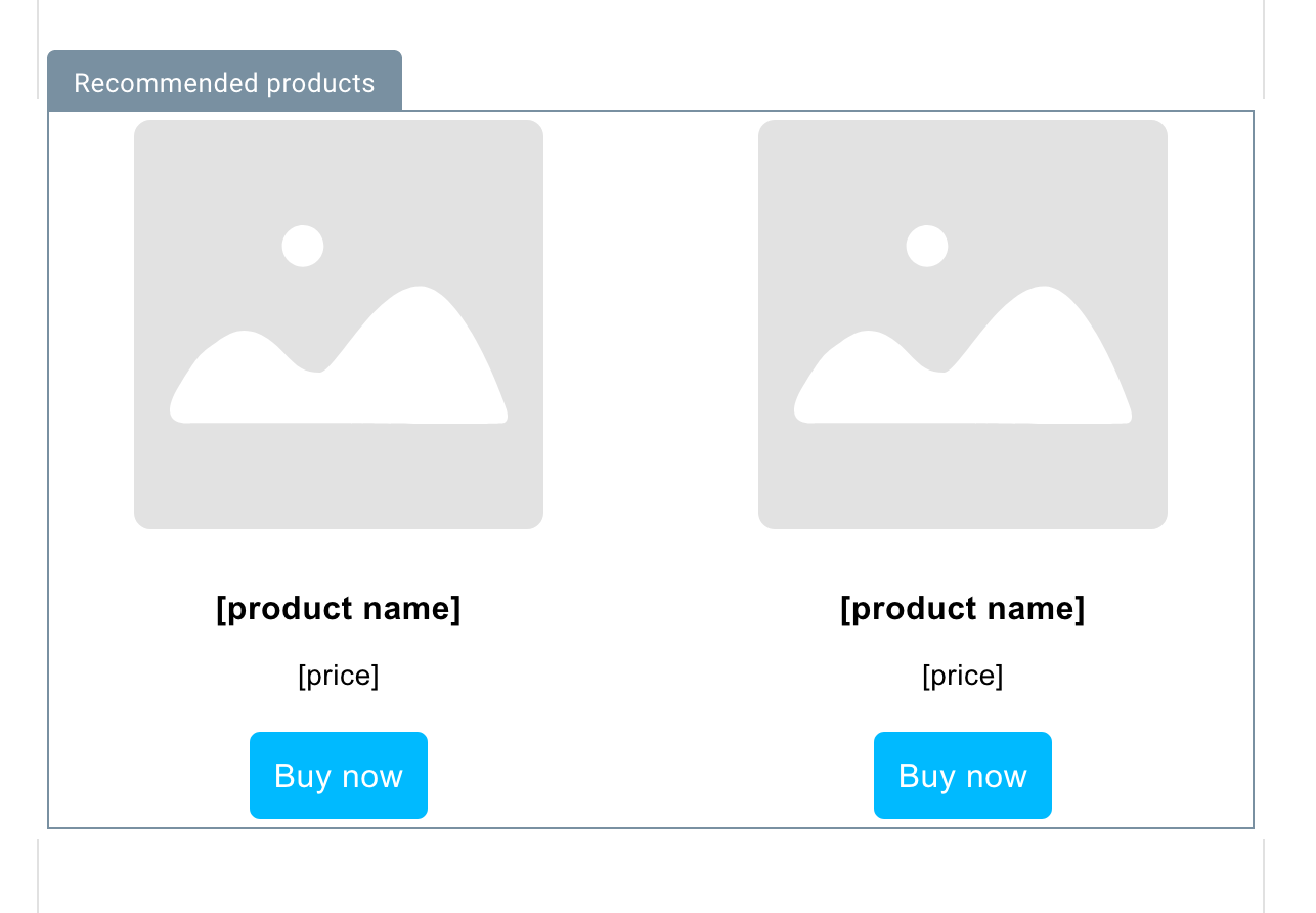 Recommended products block.