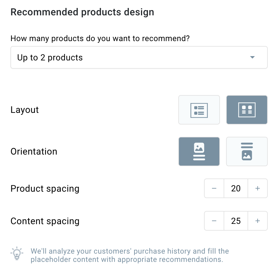Recommended products design.