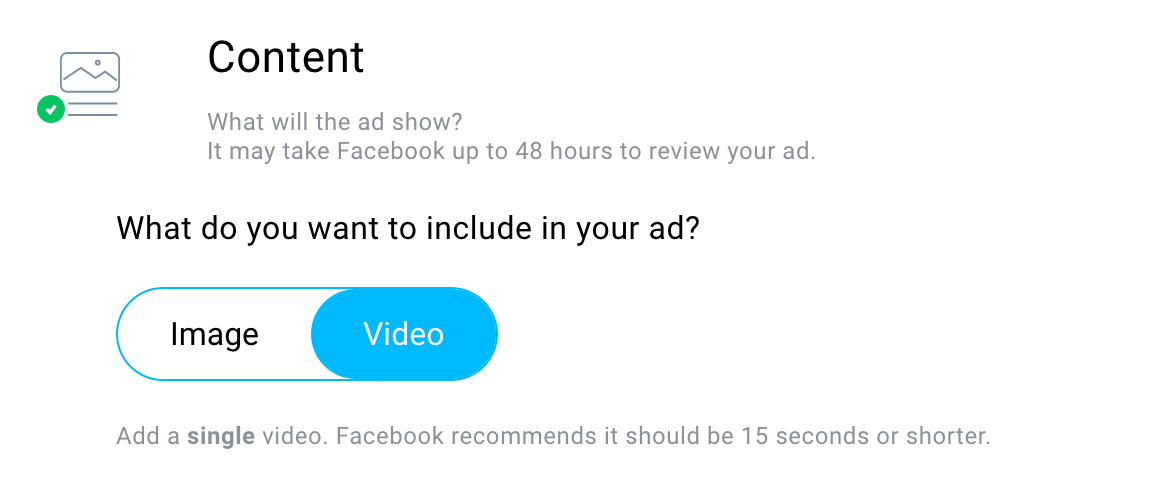 Adding video or an image to Facebook ads.