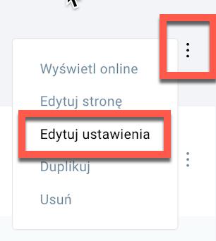 Ustawienia landing page
