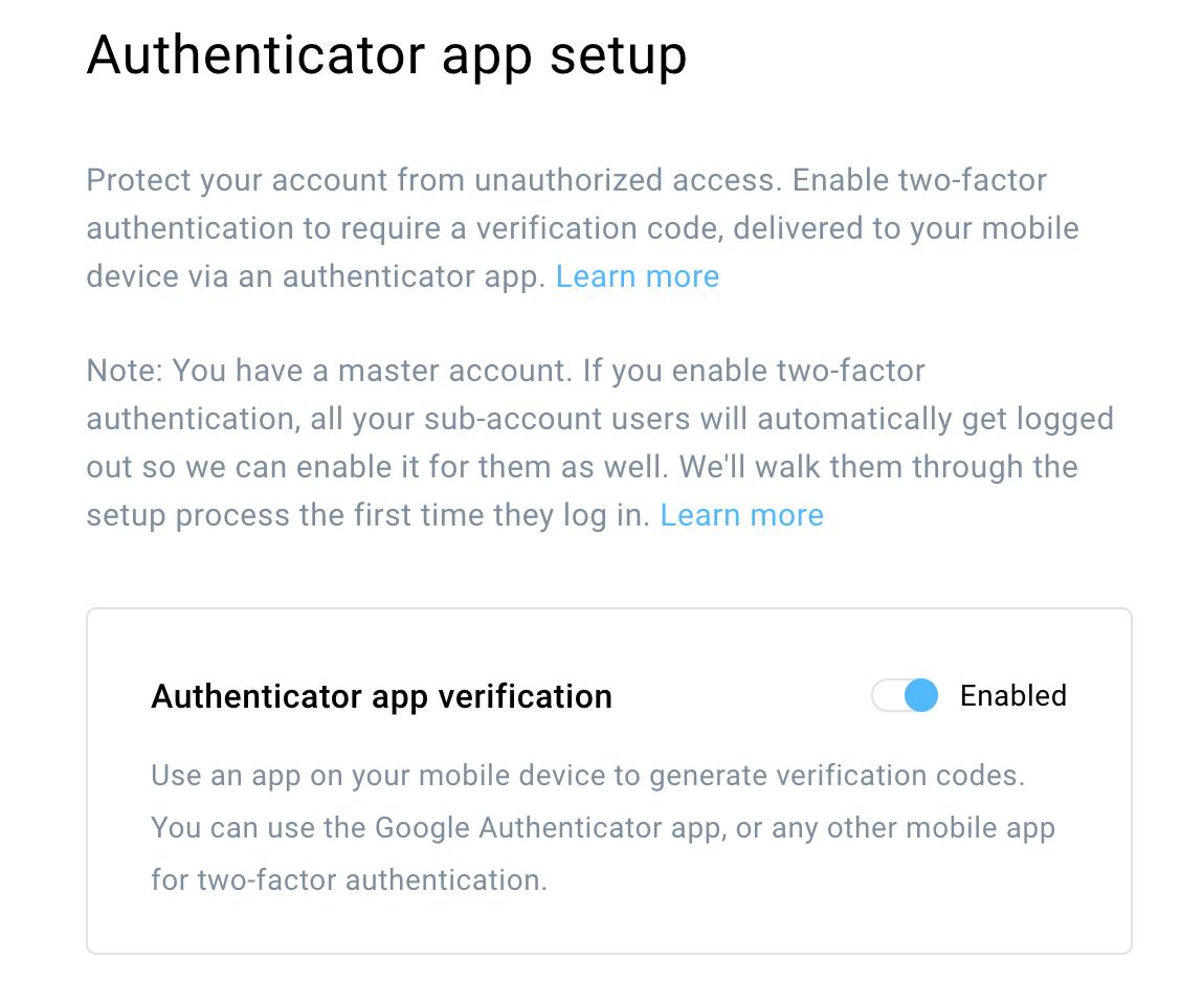 Authenticator app setup.